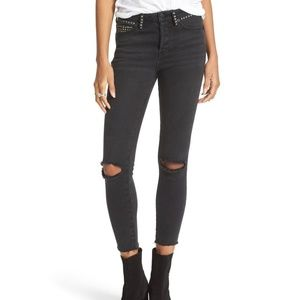 Free People Studded Ripped Black Skinny Jeans